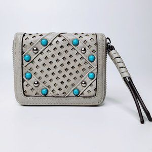 Chinese Laundry Grey Mini Beaded Front Zip Wallet